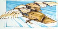 """""""Predstavoval som si, že musela existovať samostatná konštrukcia, schránka alebo motor, do ktorého by boli krídla toptéry upevnené - a trup v skutočnosti počas letu na nej """"visel"""". Keby boli krídla priamo pripevnené k trupu - ako je to u lietadla - mávajúci pohyb krídiel by stroj roztrhal na kusy. Zobrazené sú tiež manévrovacie a štartovacie rakety."""""""