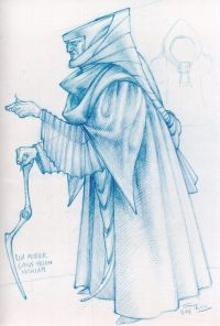 """Ctihodná matka Gaius Helena Mohiamová - """"Je cielene označovaná ako stará """"bosorka"""", a tak som ju aj spodobnil. Na tejto kresbe je v situácií, keď dáva znamenie Jessike, aby priviedla do miestnosti svojho syna."""""""