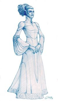 """Lady Jessica - """"Moja verzia Jessikinho výzoru je založená na jej benegesseritskej schopnosti splynúť s akýmkoľvek ľudským spoločenstvom, do ktorého sa dostane - v tomto prípade s kultúrou Caladanu. Jej oblečeniu som chcel dať podobu morských lastúr. Niečo so zložitými záhybmi, čo by pri pohľade vyvolalo spomienku na špirálovité ulity Nautila. Vidíte to na záhyboch rukávov a možno v rebrovitých švíkoch jej šiat. Jej príčesok má navodzovať rovnaký dojem. Jej vlasy sú bujné a neskrotiteľné; je to vyjadrenie jej mierne rebelujúcej povahy. Veď sa od nej žiadala dcéra!"""""""