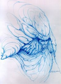 """Leto II Atreides - """"Mal som pocit, že by sme mu chceli vidieť bližšie do tváre, tak som urobil túto kresbu modrou ceruzou. Chcel som, aby Božský Imperátor mal výzor podobný nesmrteľným faraónom. Preto záhyby okolo jeho tváre - okrem iných vecí - slúžia na vytvorenie práve takéhoto majestátneho dojmu. Človek si takmer predstavuje obrovské sochy Božského Imperátora, vytesané v štylizujúcej póze, zdôrazňujúce záhyby ako nejakú formu pokrývky hlavy Egyptských faraónov... a zatláčajúce do pozadia ohavnosť zbytku jeho červieho tela."""""""